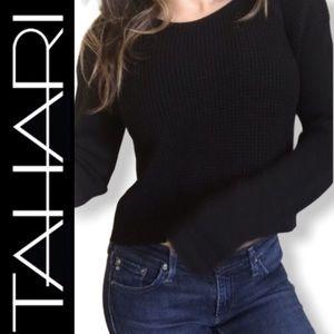 Tahari Cropped Black Textured Knit Sweater S M